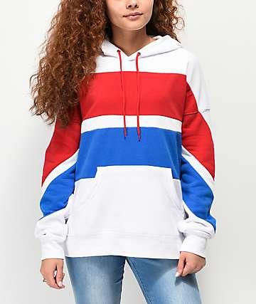 Zine Desda sudadera con capucha roja, blanca y azul