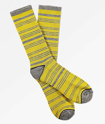Zine Despicable Grey & Yellow Striped Crew Socks