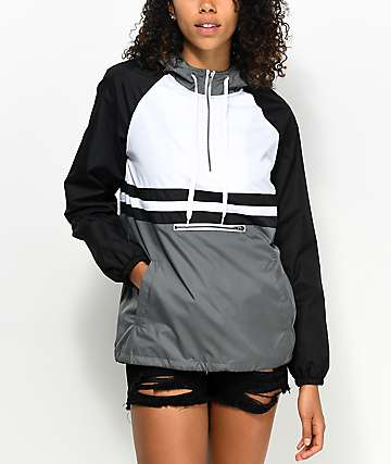Zine Domino Black, White & Grey Pullover Windbreaker