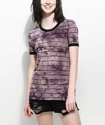 Zine Doris Purple Tie Dye Stripe Ringer T-Shirt