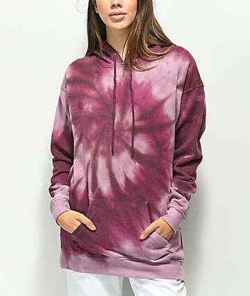 Zine Dorthea sudadera con capucha morada con efecto tie dye