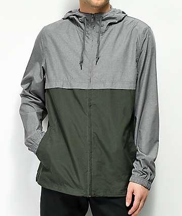 Zine Eddie chaqueta cortavientos gris y verde