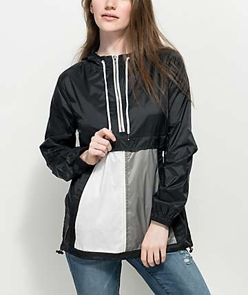 Zine Elsie Black, White & Grey Pullover Windbreaker Jacket