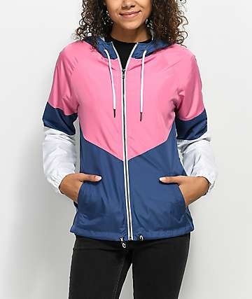 Zine Evka Blue, Pink & White Windbreaker Jacket