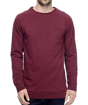Zine Fireside Burgundy Pocket Long Sleeve T-Shirt