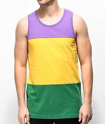 Zine Flavor camiseta sin mangas morada, amarilla y verde