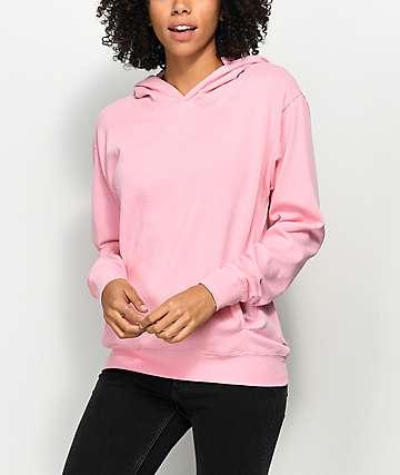Zine Gill sudadera rosa con capucha y hombro caídos