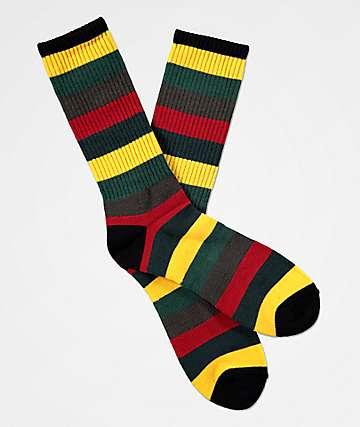 Zine Handjive Rastamane Green & Red Crew Socks