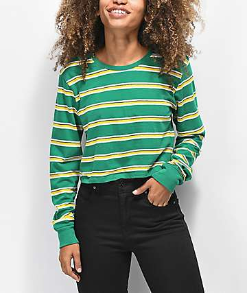 Zine Hannah Green & Yellow Striped Crop Long Sleeve T-Shirt
