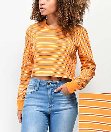 Zine Hannah Orange Striped Long Sleeve Crop T-Shirt