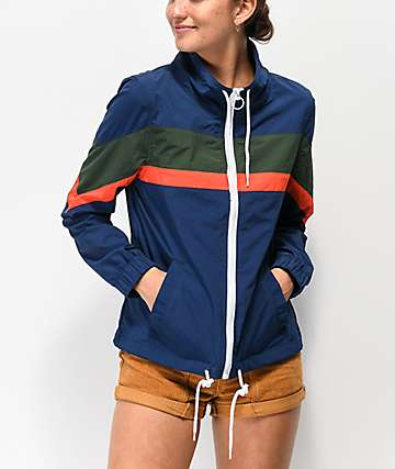 Zine Helena Blue Colorblock Mock Neck Windbreaker Jacket