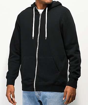 Zine Hooligan Black Solid Zip Up Hoodie