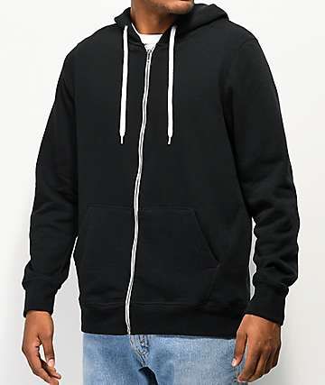 Zine Hooligan Black Solid Zip Up Hoodie