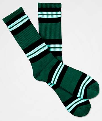 Zine Horizontal Black & Green Crew Socks