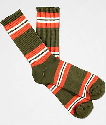 Zine Horizontal Dark Olive & Ochre Orange Crew Socks