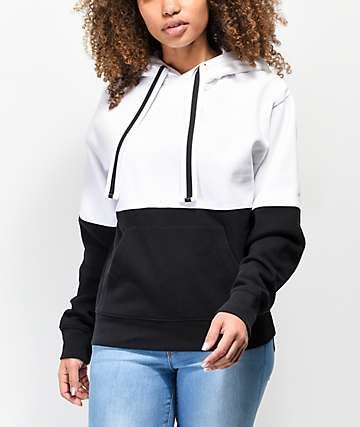 Zine Hunter Colorblock Black & White Hoodie