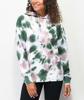 Zine Hunter Pastel Green & Purple Tie Dye Hoodie