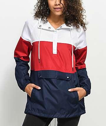 Zine Jacqui chaqueta cortavientos roja, blanca y azul