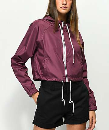 Zine Jaynie Burgundy Crop Windbreaker