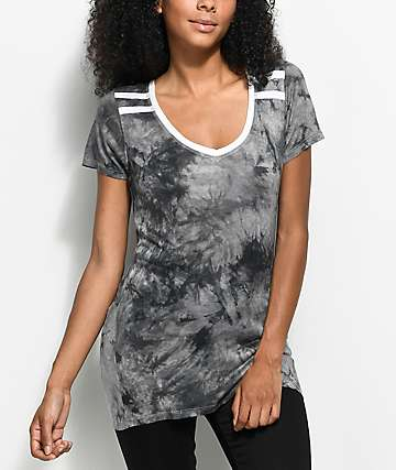 Zine Kalene camiseta ringer con efecto tie dye en negro y gris