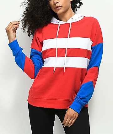 Zine Katrina Red, White, & Blue Colorblock Hoodie