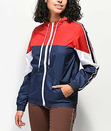 Zine Lainey chaqueta cortavientos rojo, blanco y azul