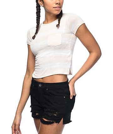 Zine Lambert camiseta con bolsillo en blanco y color melocotón