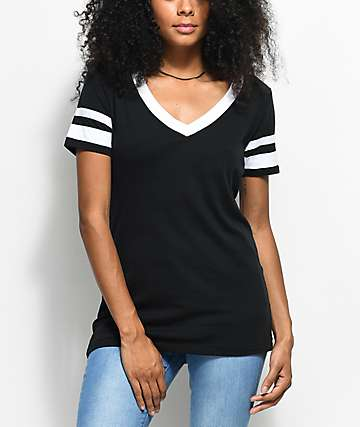 Zine Lizz Black & White V-Neck T-Shirt
