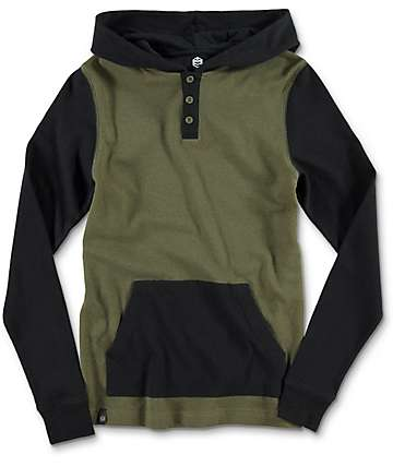 Zine Long Winter Boys Olive & Black Hooded Henley Long Sleeve T-Shirt