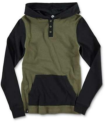 Zine Long Winter camiseta de manga larga en negro y color olivo para niños