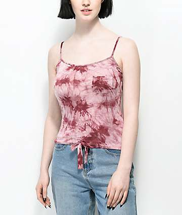 Zine Luna camiseta sin mangas burdeos con efecto tie dye