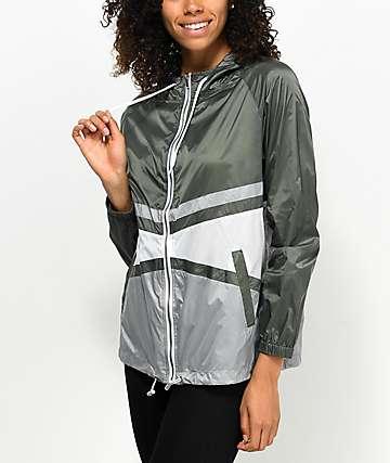 Zine Marla chaqueta cortavientos en gris, negro y verde olivo