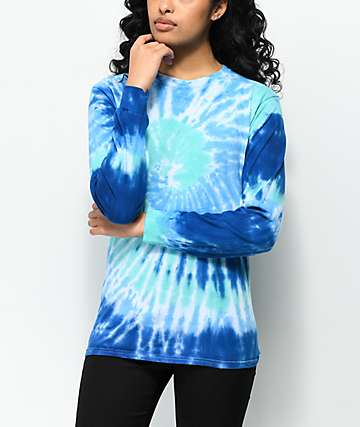 Zine Monroe Blue Spiral Tie Dye Long Sleeve T-Shirt