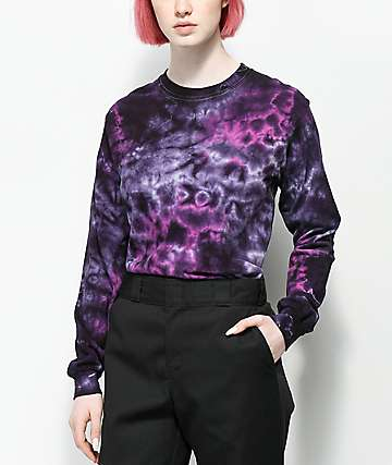 Zine Monroe Purple & Blue Tie Dye Long Sleeve T-Shirt