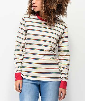 Zine Monroe camiseta de manga larga de rayas arcoíris