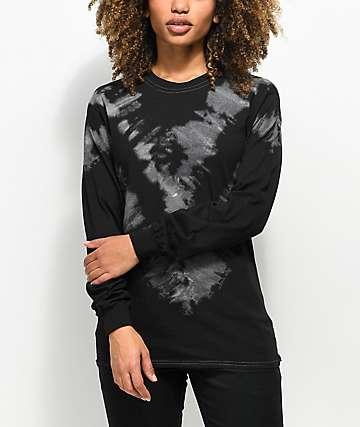 Zine Monroe camiseta negra de manga larga con efecto tie dye