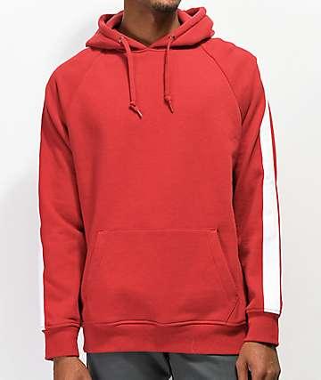 Zine Motive sudadera con capucha roja y blanca