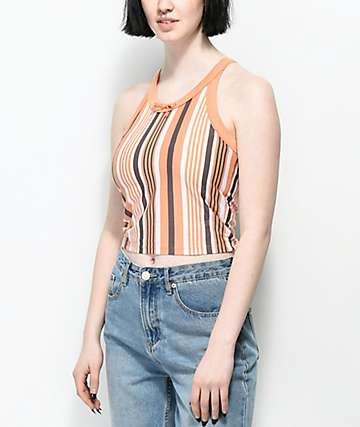 Zine Naomi Coral & Grey Stripe Tank Top