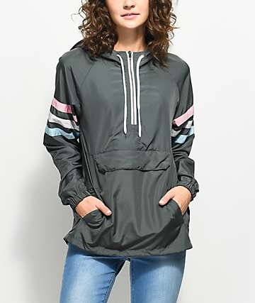 Zine Nasha Charcoal Pullover Windbreaker Jacket