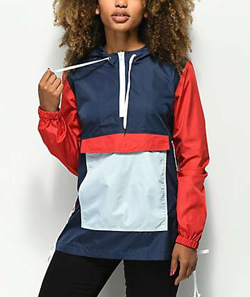 Zine Nella chaqueta anorak roja y azul con cordones laterales