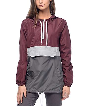 Zine Neve Burgundy, Grey & Charcoal Pullover Windbreaker