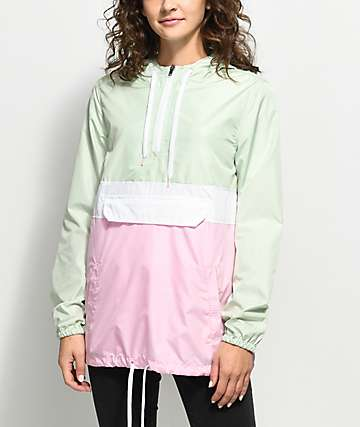 Zine Neve Mint, White & Pink Pullover Windbreaker Jacket