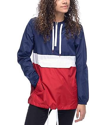 Zine Neve chaqueta cortavientos en rojo, blanco y azul marino
