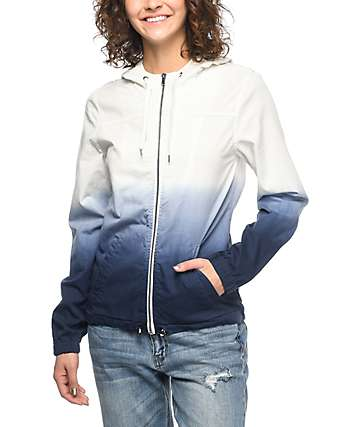 Zine Nina Blue & White Ombre Full Zip Windbreaker