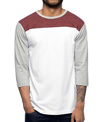 3508d962 Zine No Walls Burgundy, White, & Grey Baseball T-Shirt