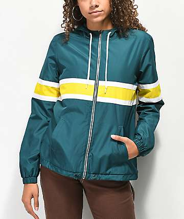 Zine Nolan Green Fleece Lined Windbreaker Jacket