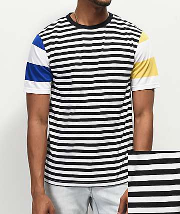 Zine Offset Mix Stripe Black, Blue & Yellow T-Shirt