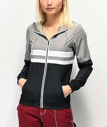 Zine Olivia chaqueta cortavientos en blanco, negro y gris