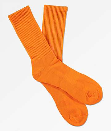 Zine Orange Crew Socks