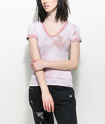 Zine Ori Light Pink Tie Dye V-Neck T-Shirt